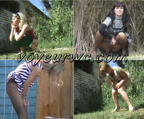 Pisshunters 6131-6155 (Girls piss outdoors and toilets)