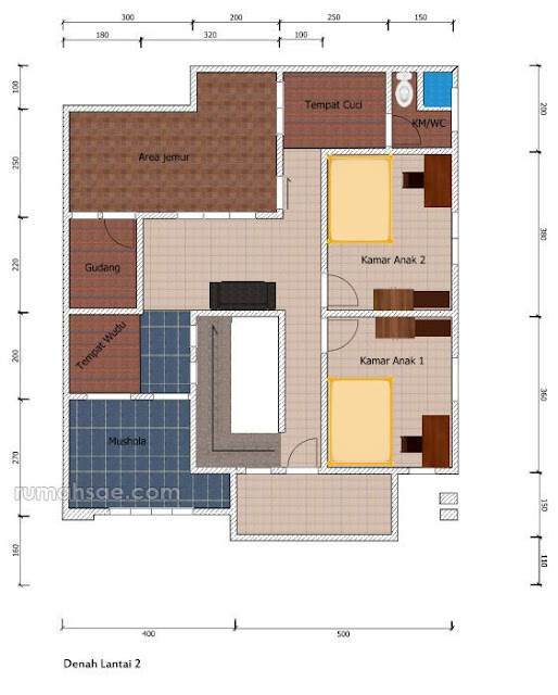 Denah Rumah di Lahan 12 m x 10 m