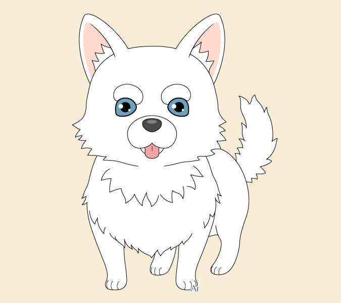 Gambar berwarna anime anjing