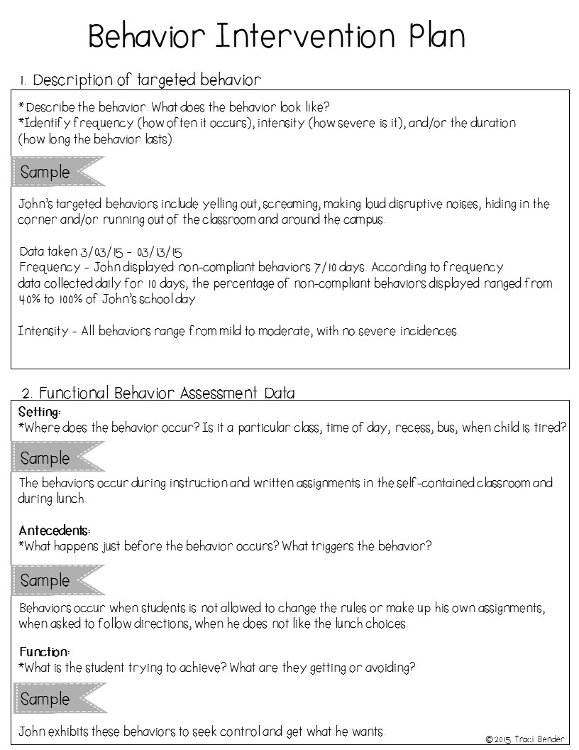 behavior modification plan template co the bender bunch creating a behavior intervention plan bip