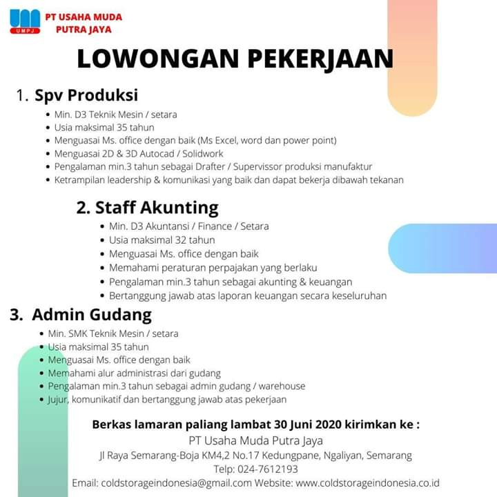 Lowongan Kerja Spv Produksi Akunting Admin Gudang Pt Usaha Muda Putra Jaya Semarang Loker Swasta