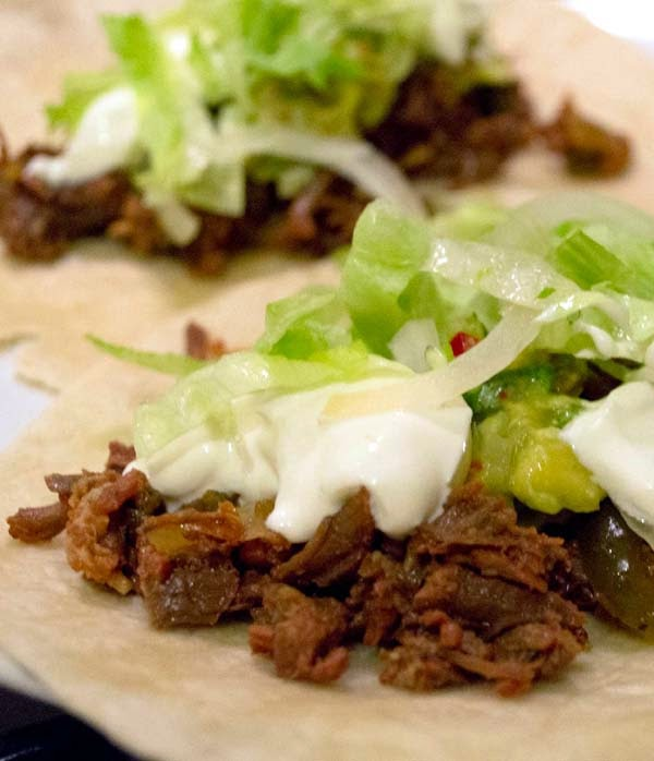 Slow Cooked Beef Soft Tacos with Jalapeños
