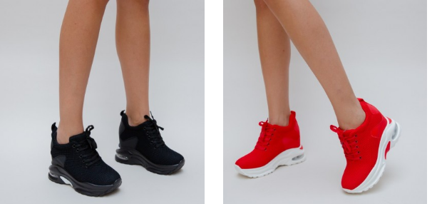 Adidasi dama negri, rosi, albi cu platforma din material textil moderni