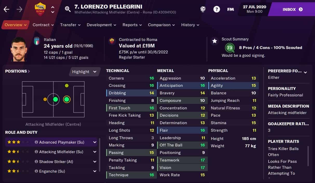 Lorenzo Pellegrini Football Manager 2021