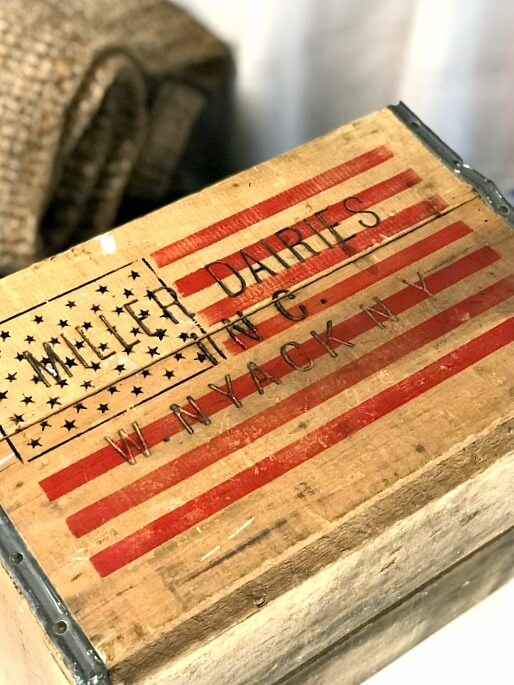 stenciled antique crate with flag