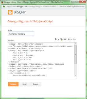 Cara Memasang Widget Komentar Terbaru di Blogger