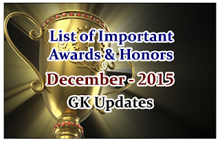 List of Important Awards and Honors- December2015