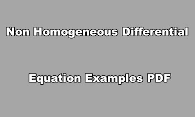 Non Homogeneous Differential Equation Examples PDF