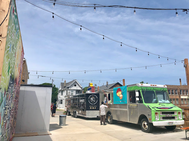 Food trucks at the Zocalo Food Park in Milwaukee, WI