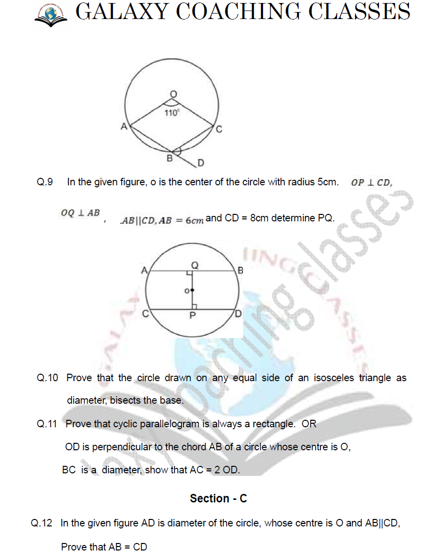 Galaxy Coaching Classes: class 9 maths worksheet chapter