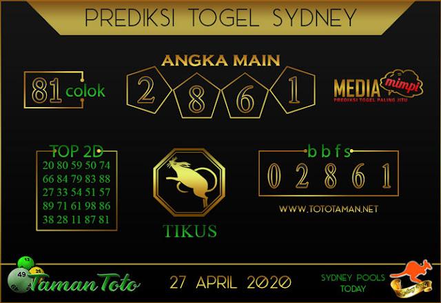 Prediksi Togel SYDNEY TAMAN TOTO 27 APRIL 2020