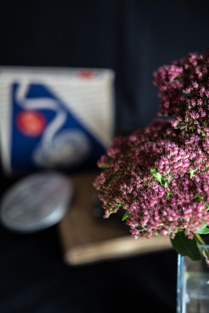 Blumendekoration: gestreifte Dahlien und Fetthenne by fim.works Lifestyle Blog