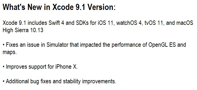 Xcode 9.1 Features & Changelog