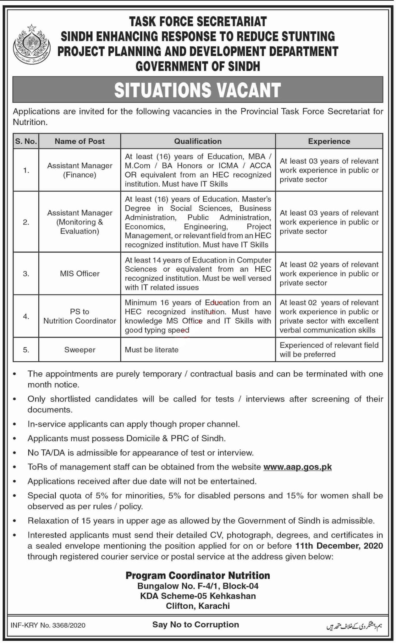Task Force Secretariat Sindh SERRSP Project Jobs 2020 for Assistant Manager Monitoring, Assistant Manager Evaluation, MIS Officer and more