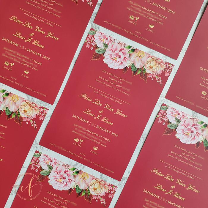 Wedding Card Malaysia Crafty Farms Handmade Red Floral Chinese