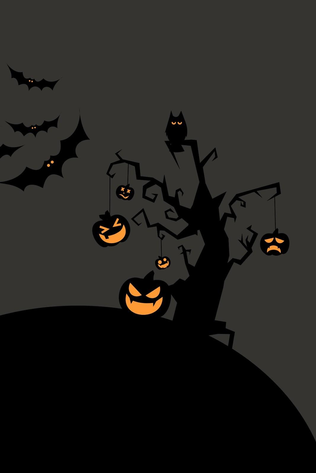 Halloween Tree pumpkin scary Wallpaper