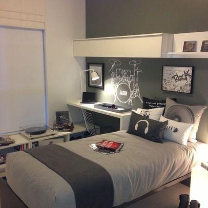 غرفة نوم للاولاد الكبار مودرن ,لون رصاصي ,بسرير واحد