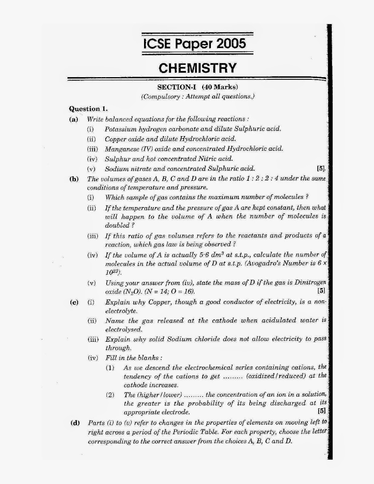 icse class 10th chemistry solved question paper 2005