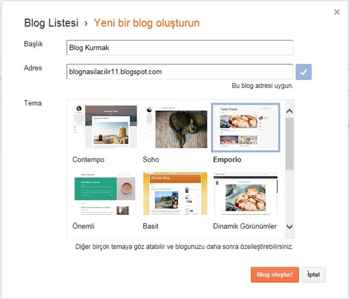 Google Blogger Blog Oluşturmak Tema Seçimi