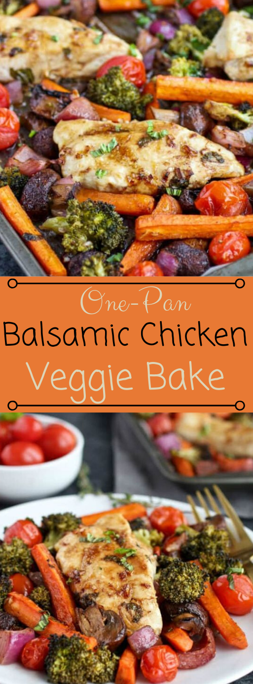 One-Pan Balsamic Chicken Veggie Bake #veggie #diet #healthy #paleo #keto