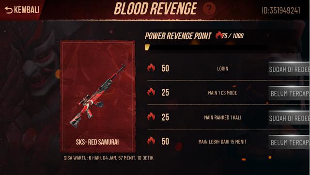 Cara Mendapatkan Skin Senjata Permanen Gratis Event Blood Revenge FF
