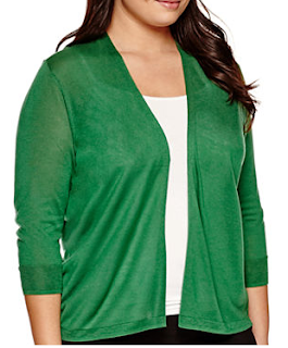 Green 3/4 Sleeve Cardigan