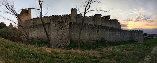 Carcasonne City Wall at Sunset