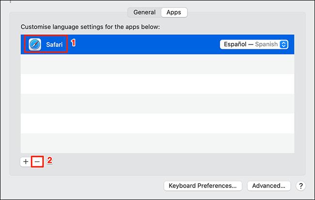 إعادة تعيين لغة تطبيق على جهاز Mac.