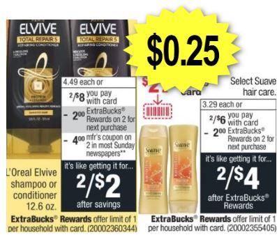 Suave & L'Oreal Shampoo CVS Deals 5-31-6-6