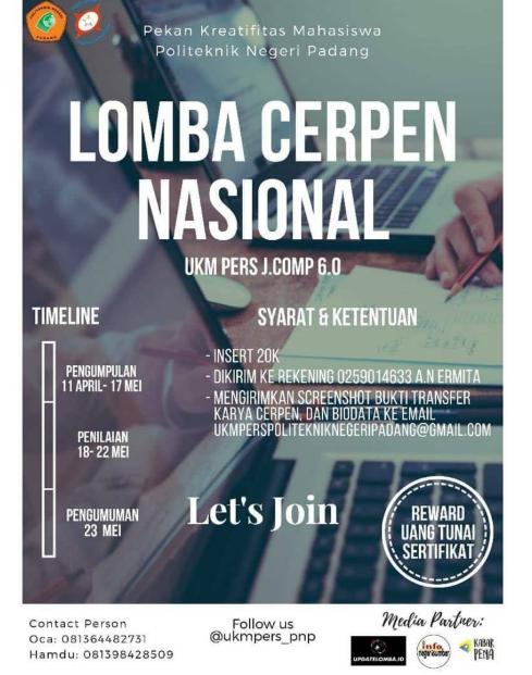 Lomba Menulis Cerpen Nasional 2019 di Politeknik Negri Padang
