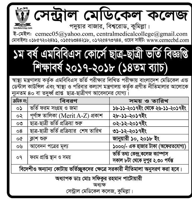 Central Medical College Comilla MBBS Admission