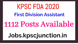 KPSC Recruitment 2020 notification Apply Online for 1116 FDA Posts