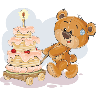 Teddy with birthday cake