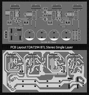Power Amplifier TDA7294 BTL Stereo PCB Layout Single Layer: