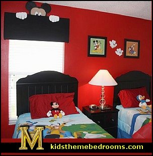 mickey mouse  creative windows - window decorations - window wallpaper - window murals - curtains - decorative window decor - creative doors - cornice boards -  faux windows - fake windows - window cornice decorating