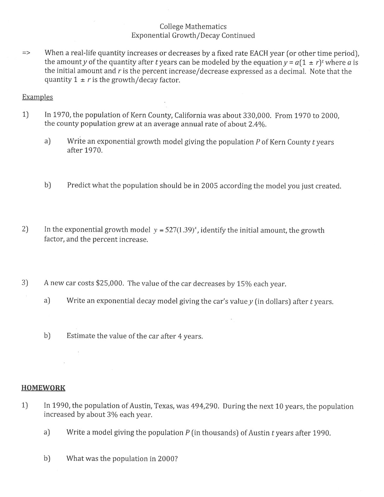Exponential Problems Worksheet