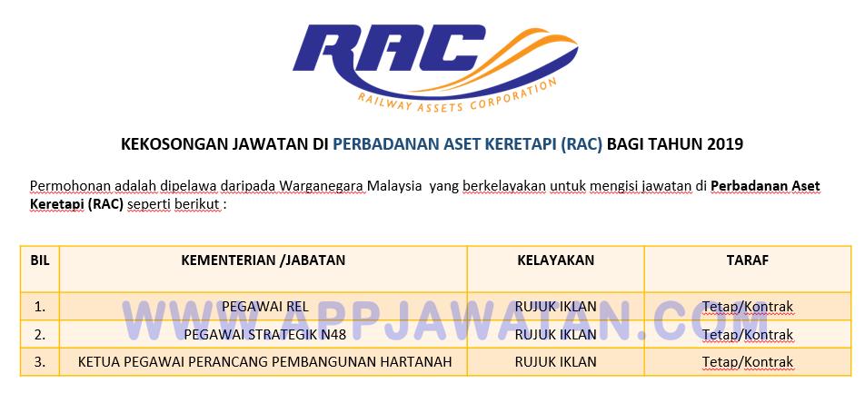 Permohonan Jawatan Kosong Di Perbadanan Aset Keretapi Rac Appjawatan Malaysia