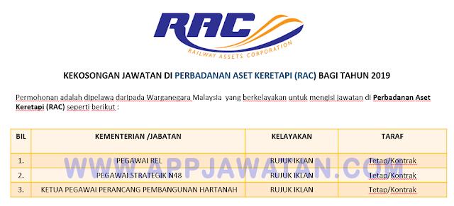 Permohonan jawatan kosong di Perbadanan Aset Keretapi (RAC).