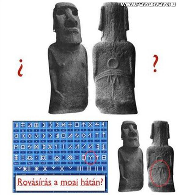 Ősi rovásírás egy moai hátán