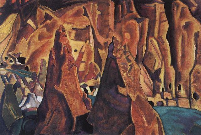 Николай Рерих - Пещеры в скалах. Нью-Мексико. 1921