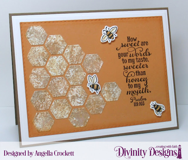 Divinity Designs LLC Bee-Lieve Stamp/Die Duos, Custom Dies: A2 Landscape Card Base with Layers, Quilted Honeycomb Background, Double Stitched Rectangles; Card Designer Angie Crockett