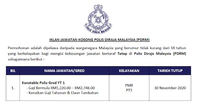 jawatan kosong polis diraja malaysia