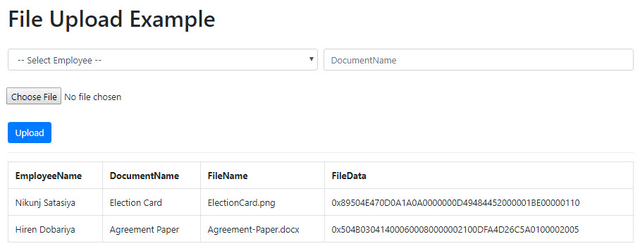 Upload and Save File in Database