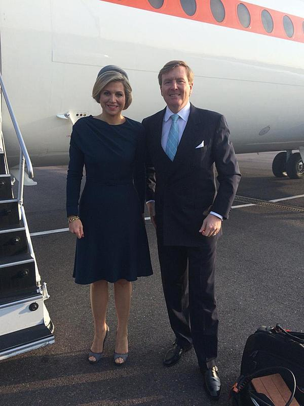 Dutch King Willem-Alexander and Dutch Queen Maxima after their arrival at Copenhagen Airport