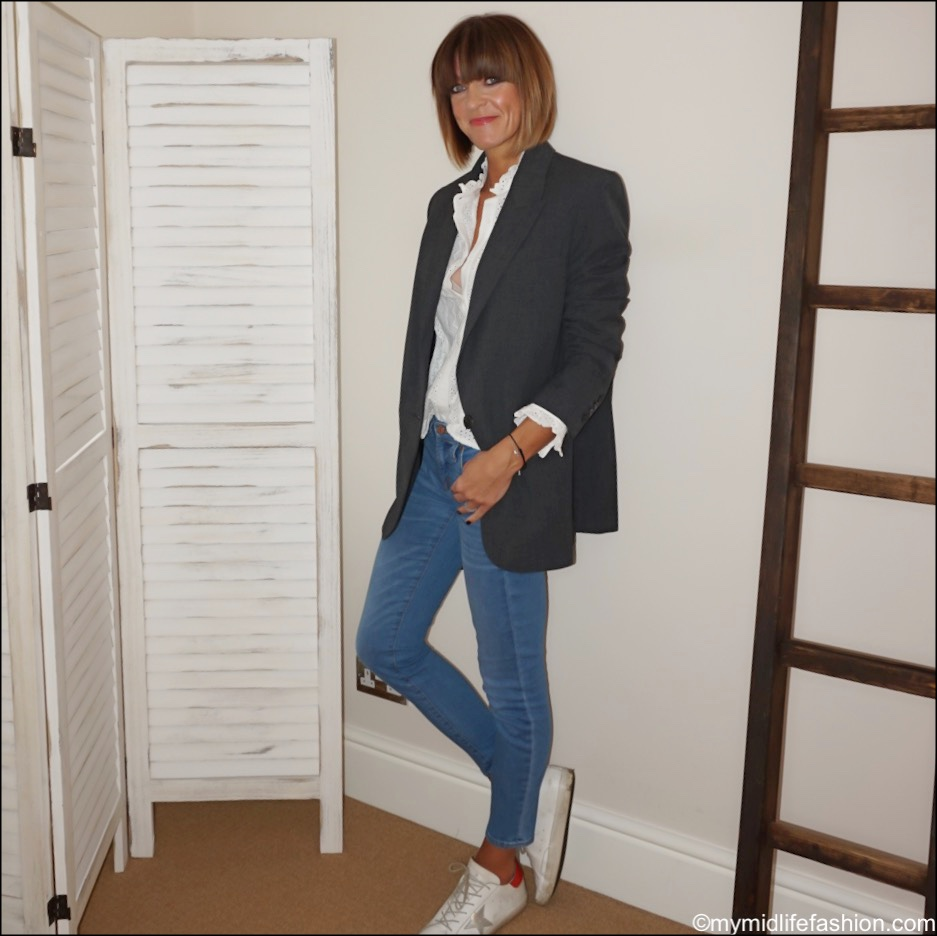 my midlife fashion, Zara oversized blazer, Zara embroidered blouse, j crew 8 inch toothpick jeans, golden goose superstar low top leather trainers
