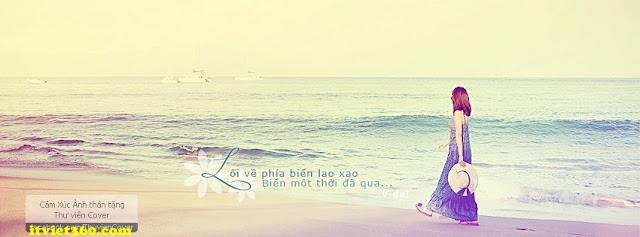 Ảnh bìa Facebook biển & tâm trạng - cover FB timeline, cô gái bước đi dưới biển, lối về phía biển lao xao