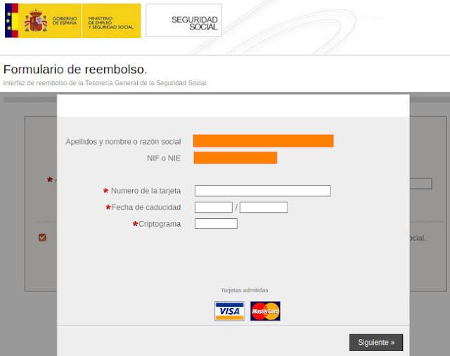 Página web fraudulenta suplantando la identidad de la Seguridad Social, solicitud de datos bancarios.