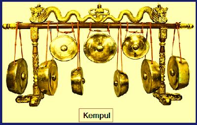 Kempul. Kempul terdiri dari Kempul Slendro dan Kempul Pelog. Kempul Slendro bernada: 1, 2, 3. 5. dan 6. Kempul Pelog bernada: 1, 2, 3, 5, 6, dan 7. Fungsi Kempul: Pamangku irama. Tugas: menegaskan irama.