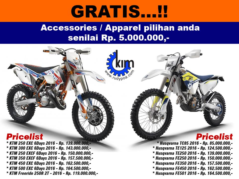 indonesian dirt bike (idb): daftar harga ktm dan husqvarna 2016
