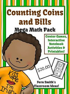 St. Patrick's Day Math Center Games & Printables Money Counting Coins and Bills Bundle